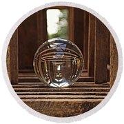 Crystal Ball In Wooden Lanterns Round Beach Towel