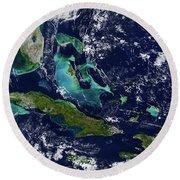 Cuba And Florida Round Beach Towel