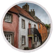 Culross Cottages Round Beach Towel by Ross G Strachan