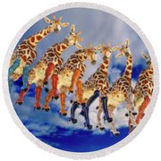 Curious Giraffes  Round Beach Towel