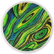 Curved Lines 5 Round Beach Towel
