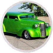 Custom 1938 Chevrolet 2 Door Coach  Round Beach Towel