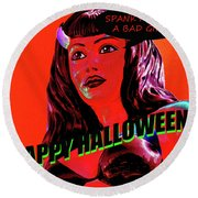 Custom Halloween Card She-devil Round Beach Towel