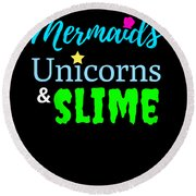 Cute Mermicorn Unicorn Mermaid Slime Birthday Round Beach Towel
