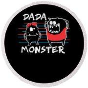 Dada Monster Cute Monster Cartoon For Kids And Dad Dark Round Beach Towel