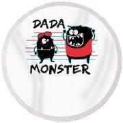 Dada Monster Cute Monster Cartoon For Kids And Dad Light Round Beach Towel