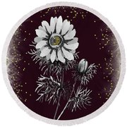 Daisy Sparkle Round Beach Towel