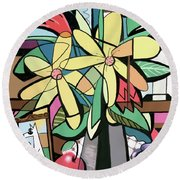 Daisy's And Tulips Round Beach Towel by Anthony Falbo