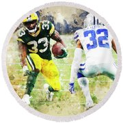 Dallas Cowboys Against Green Bay Packers. Round Beach Towel