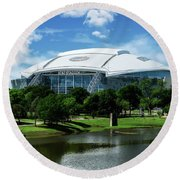 Dallas Cowboys Att Stadium Arlington Texas Round Beach Towel by Robert Bellomy