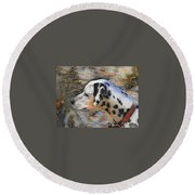 Dalmatian Dog Round Beach Towel