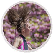 Dancing And Cherry Blossoms Round Beach Towel