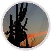 Dancing Saguaro Cactus Round Beach Towel