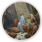 Daniel In The Den Of Lions  Engraving By Gustave Dore Round Beach Towel