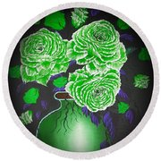 Dark And Delicious Roses  In Green Round Beach Towel