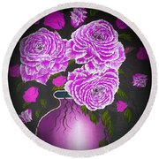 Dark And Delicious Roses In Pink Lilac Round Beach Towel