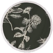 Dark Botanics  Round Beach Towel