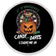 Darts Dart Pumpkin Jack O Lantern Halloween Round Beach Towel