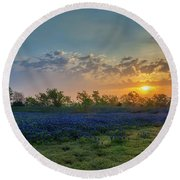 Daybreak In The Land Of Bluebonnets Round Beach Towel