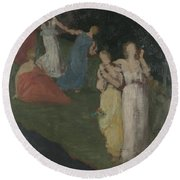 Death And The Maidens  Round Beach Towel
