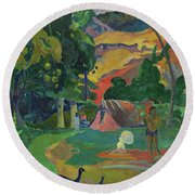 Death, Landscape With Peacocks, 1892 Round Beach Towel