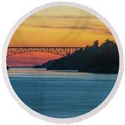 Deception Pass Bridge Sunset Light Round Beach Towel