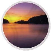 Deception Pass Sunset Serenity Round Beach Towel