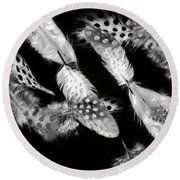 Decorated In Black And White Round Beach Towel