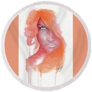 Deep Orange Round Beach Towel