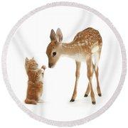Deer Little Friend Round Beach Towel