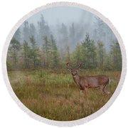 Deer Mist Fog Landscape Round Beach Towel by Patti Deters