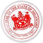 Delaware Seal Stamp Round Beach Towel