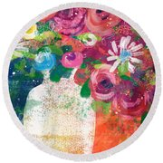 Delightful Bouquet 2- Art By Linda Woods Round Beach Towel