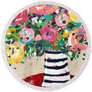 Delightful Bouquet 5- Art By Linda Woods Round Beach Towel