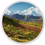 Denali Autumn Round Beach Towel by Tim Newton