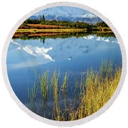Denali Reflection Round Beach Towel by Tim Newton