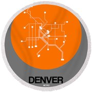 Denver Orange Subway Map Round Beach Towel