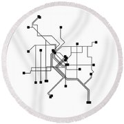 Denver White Subway Map Round Beach Towel