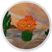 Desert Blooms Round Beach Towel