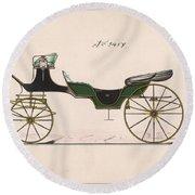 Design For Cabriolet Or Victoria, No. 3459  1875 Round Beach Towel