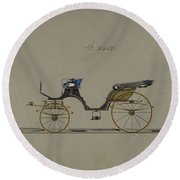 Design For Cabriolet Or Victoria, No. 3558  1879 Round Beach Towel