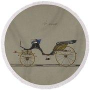 Design For Cabriolet Or Victoria, No. 3558  1879 Round Beach Towel