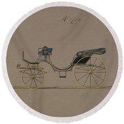 Design For Cabriolet Or Victoria, No. 3723  1881 Round Beach Towel