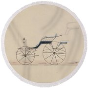 Design For Driving Phaeton Unnumbered Brewster And Co. American, New York Round Beach Towel