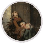 Destitute Dead Mother Holding Her Sleeping Child In Winter, 1850 Round Beach Towel