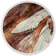 Detail Of Abstract Shape On Old Wood Round Beach Towel