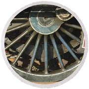 Detail Of Locomotive Wheel With Spokes Round Beach Towel