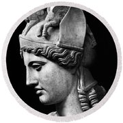 Detail Of The Face Of Athena Farnese Round Beach Towel