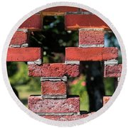 Details Of A Red Brick Wall With Pattern Round Beach Towel