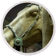 Details Of Head Of Horse From Terra Cotta Warriors, Xian, China Round Beach Towel